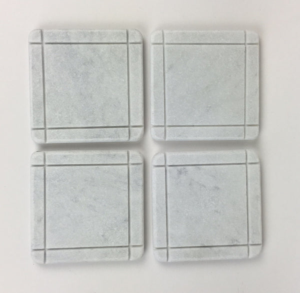 Arts & Crafts Style Marble Coasters – White Carrara Marble Stone Coasters, Set of 4, Design D
