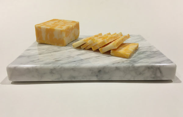 "Cheese Board - White Carrara Marble 8"" x 6"" - Cheese Platter, Recycled Marble"