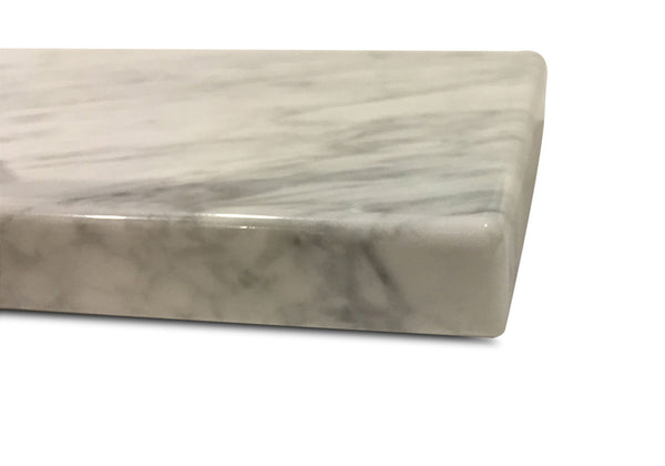 "Pastry Board - White Carrara Marble 10"" x 16"" - Large Cheese Platter, Recycled Marble"