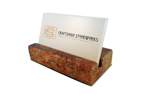 Business Card Holder - Crema Bordeaux Granite