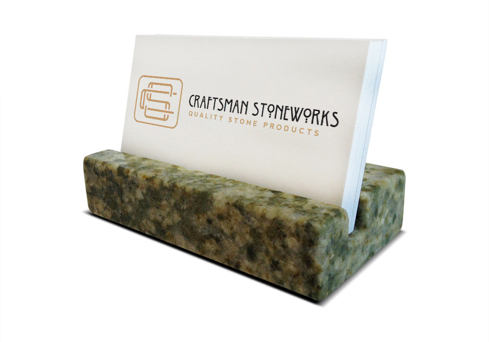 Business Card Holder - Green Granite