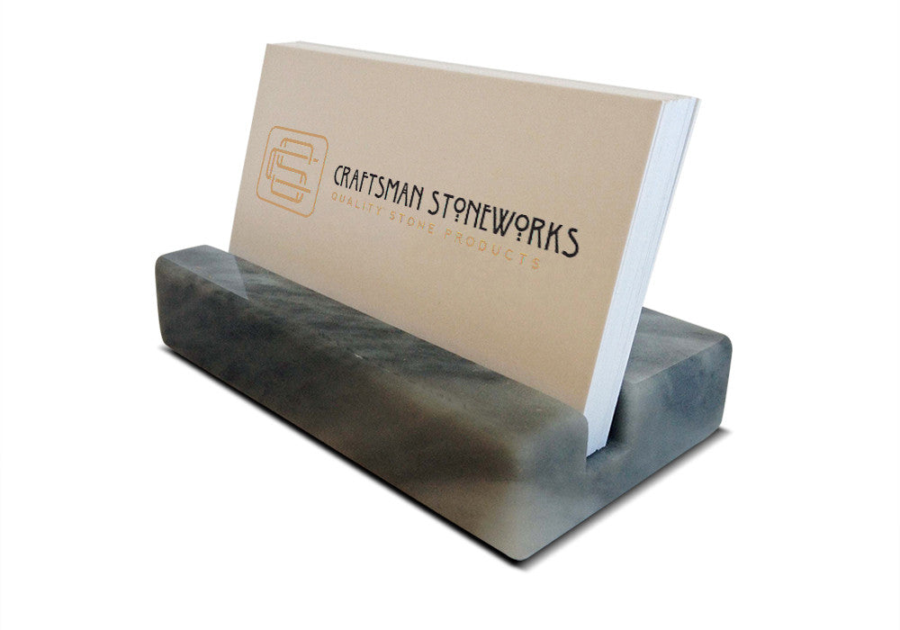 Business Card Holder - Grey Marble