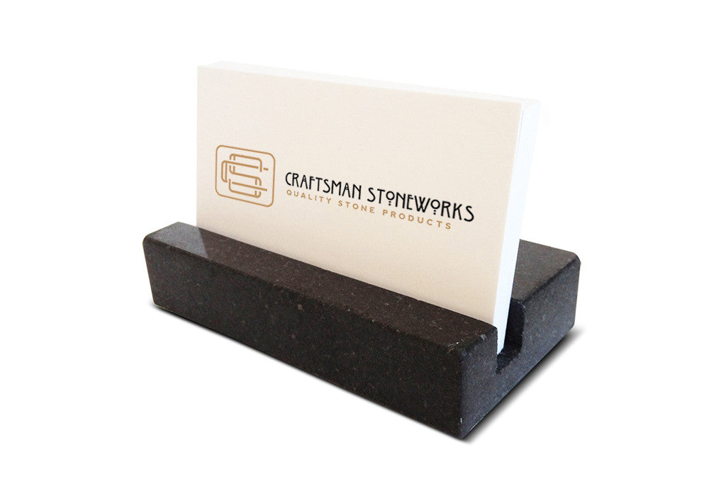 Black absolute granite business card holder