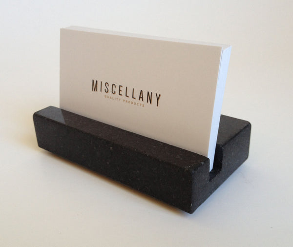 Business card stand, black absolute granite