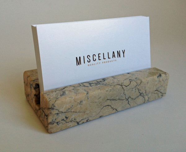 Business Card Holder - Beige Marble