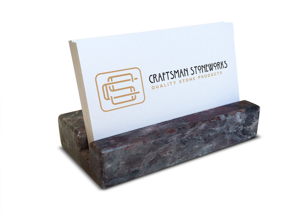 Business Card Holder Grey And Burgundy Marble Craftsman Stoneworks