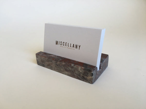 Business Card Holder - Grey and Burgundy Marble