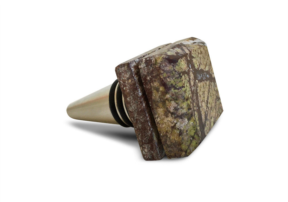 Wine Bottle Stopper - Rain Forest Geen Marble and Stainless Steel