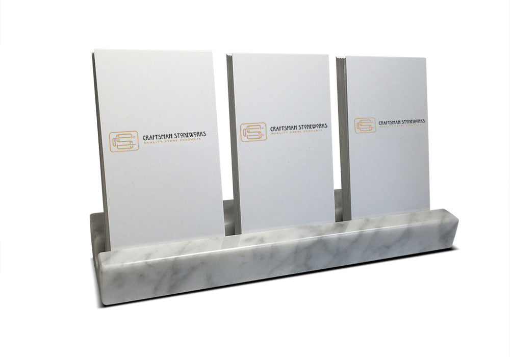 Multiple Verical Business Card Holder - White Carrara Marble