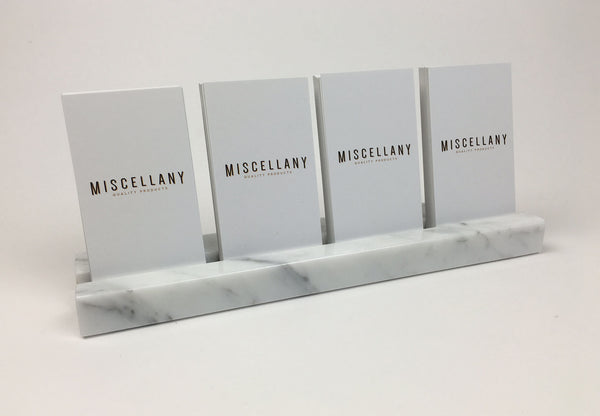 Multiple Verical Business Card Holder - White Carrara Marble, Holds 4 Sets of Cards