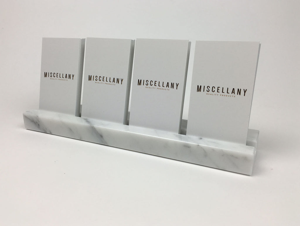 Multiple Verical Business Card Holder - White Carrara Marble, Holds 48 Sets  of Cards