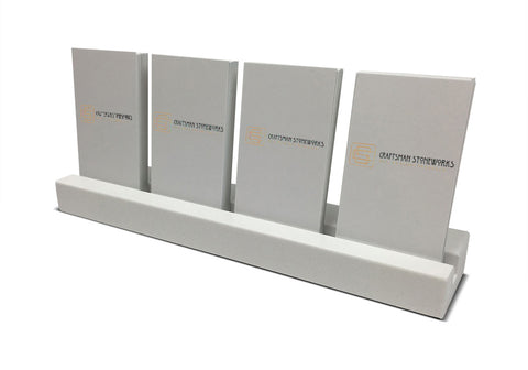 Multiple Vertical Business Card Holder - White Quartz, Holds 4 Sets of Cards