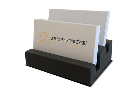 "Multiple Business Card Holder - Dark Grey Slate - 1 1/4"" Thick - Stadium Design"