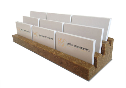 "Multiple Business Card Holder, Holds 9 different cards - Honed & Filled Travertine - 2"" Thick Slab- Stadium Design"