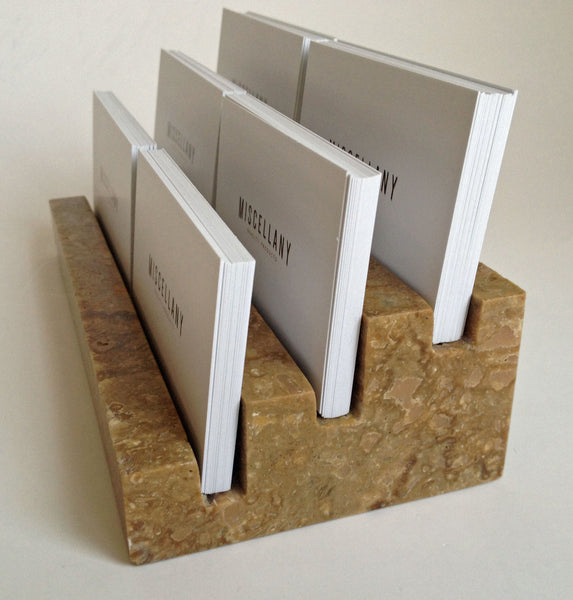 "Multiple Business Card Holder, Holds 6 different cards - Honed & Filled Travertine - 2"" Thick Slab- Stadium Design"