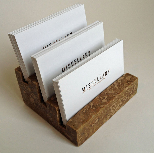 "Multiple Business Card Holder, Holds 3 different cards - Honed & Filled Travertine - 2"" Thick Slab- Stadium Design"