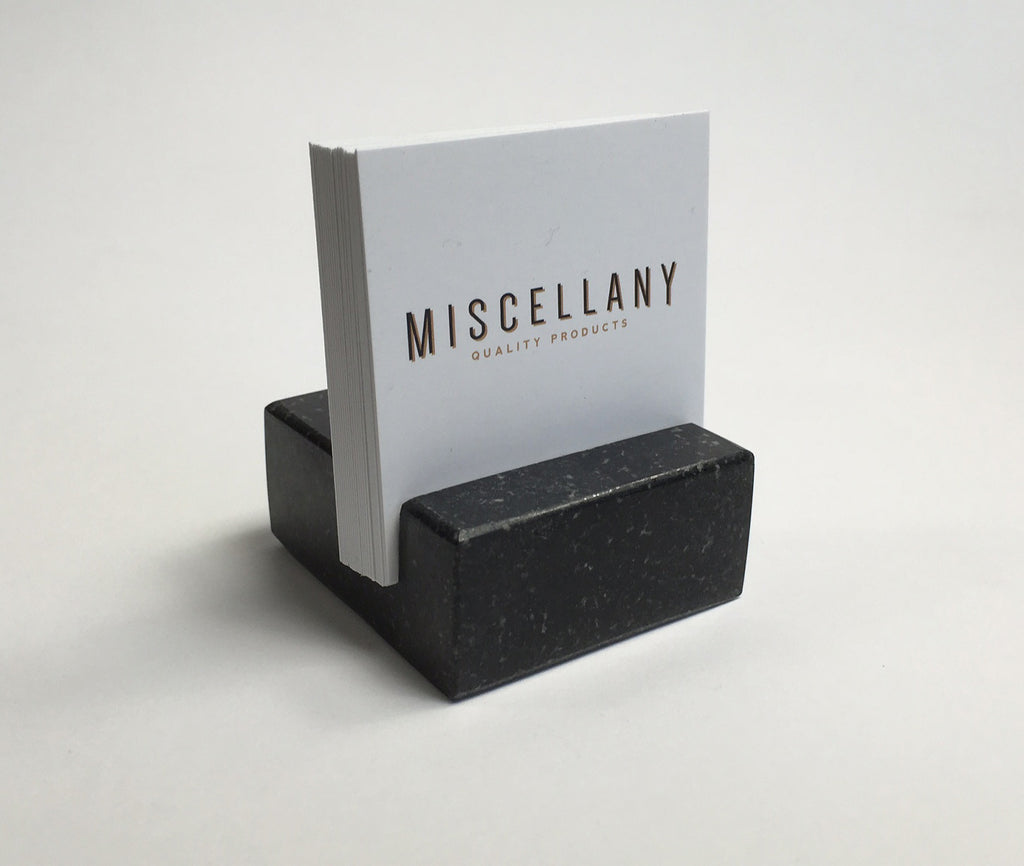 square business card holder black absolute granite - Square Business Card Holder