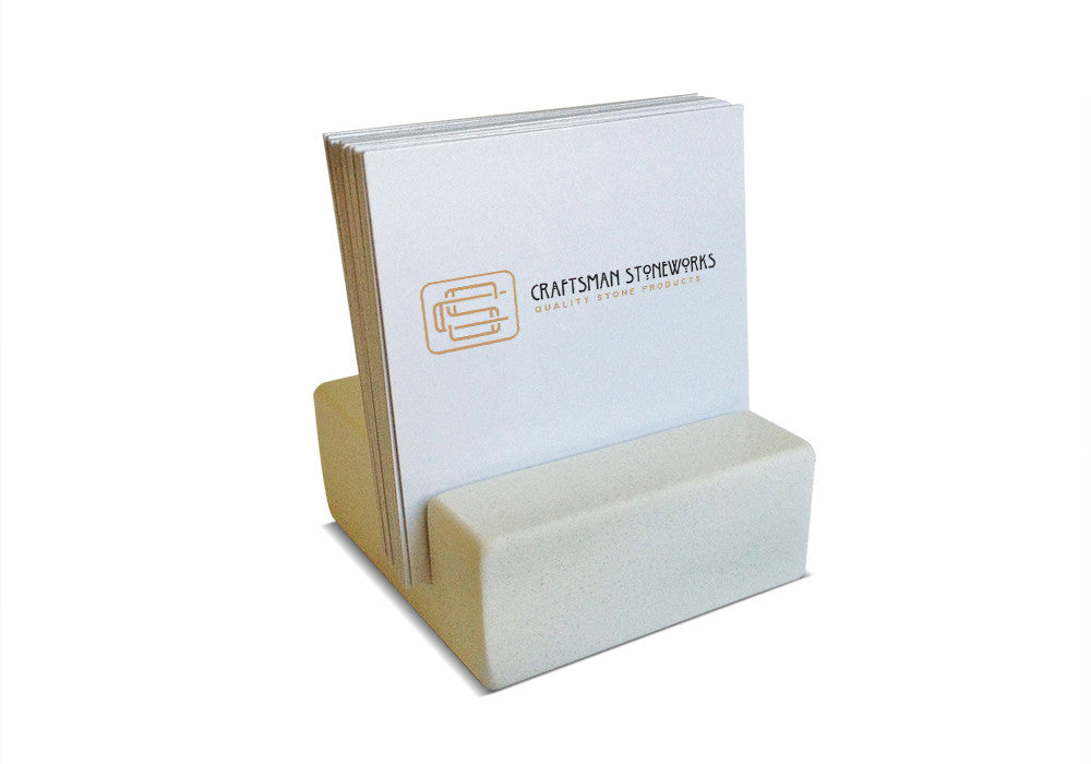 Square Business Card Holder - White Quartz