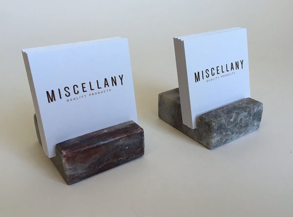 Square Business Card Holder - Grey and Burgundy Marble