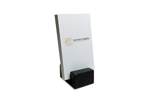 Vertical Business Card Holder - Black Absolute Granite