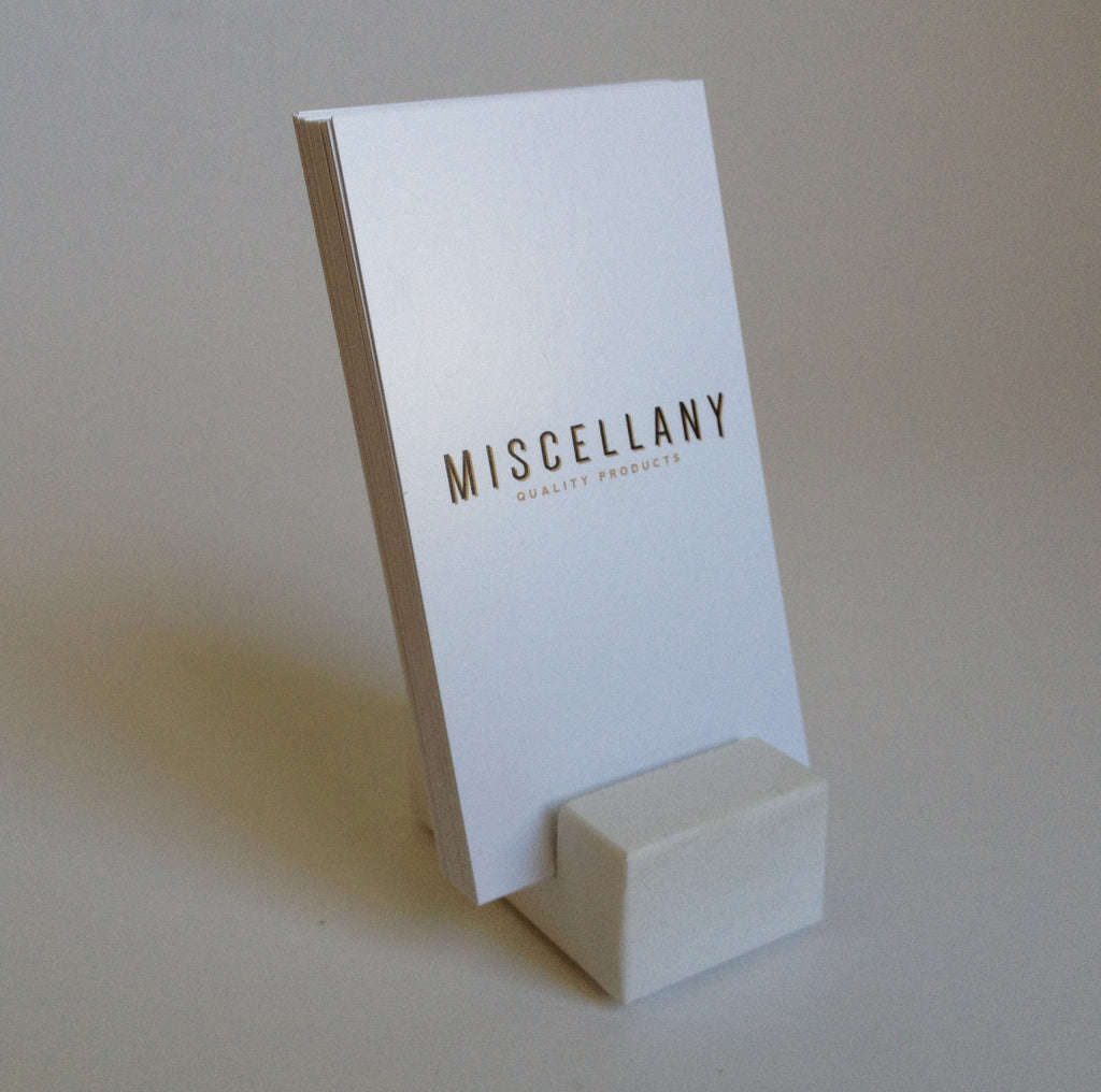 Vertical Business Card Holder - White Quartz – Craftsman Stoneworks
