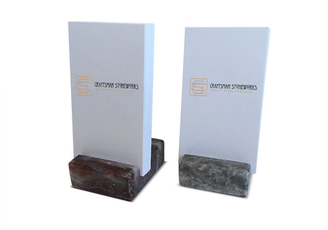 Vertical Business Card Holder - Grey and Burgundy Marble