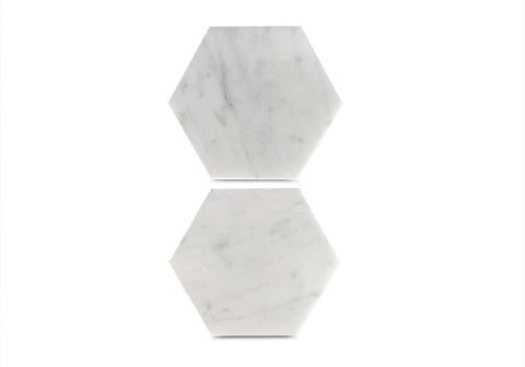 Large Hexagon Coasters in White Carrara Marble – Geometric Design - Set of 2 Stone Coasters