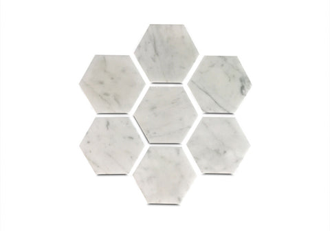 Geometric Coasters in White Carrara Marble - Set of Six Hexagon Coasters