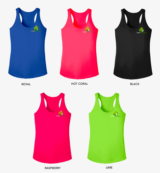 Aspen Pickleball Ladies Performance Racerback Tank - Back Logo