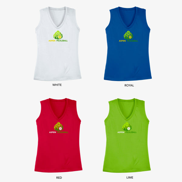 Aspen Pickleball Ladies Performance Sleeveless Vest - Front Logo