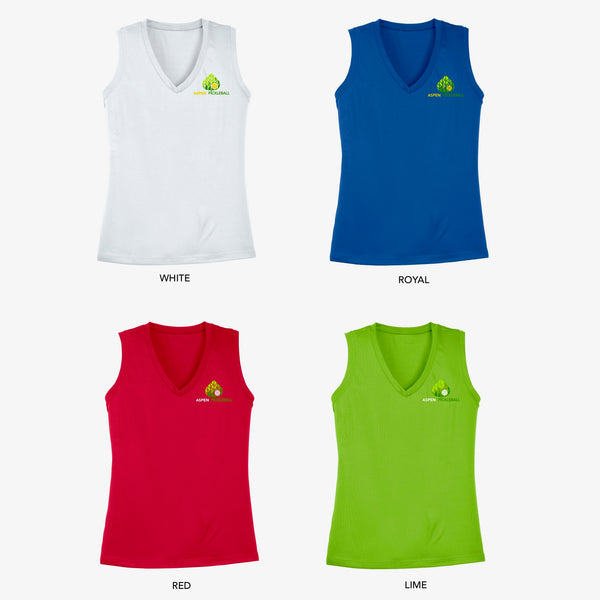 Aspen Pickleball Ladies Performance Sleeveless Vest - Front Chest Logo