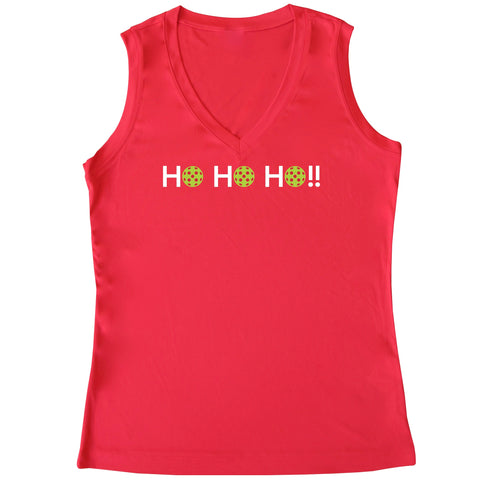 HO HO HO!! Ladies Pickleball Christmas Sleeveless Tank - Performance Dri-Fit