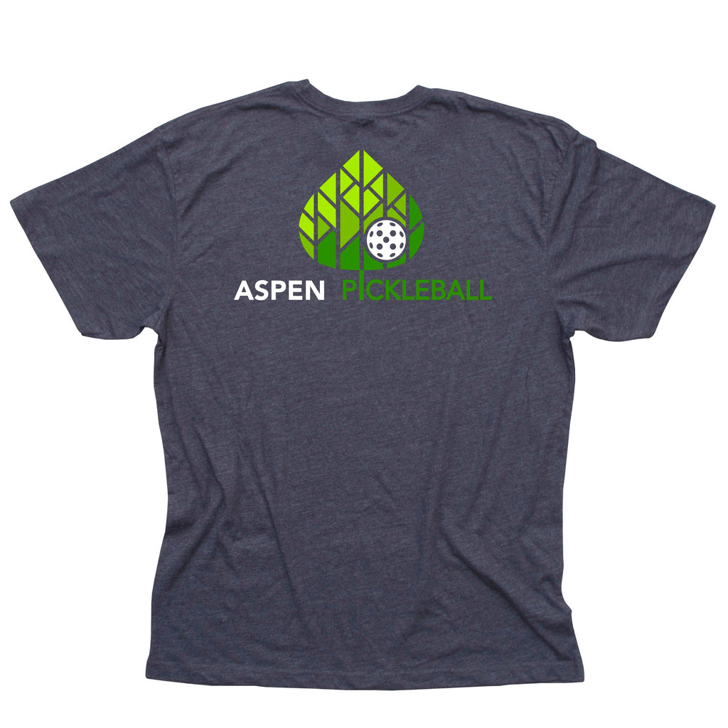 Aspen Pickleball Men's Vintage Casual Cotton Blend T-Shirt - Back Logo