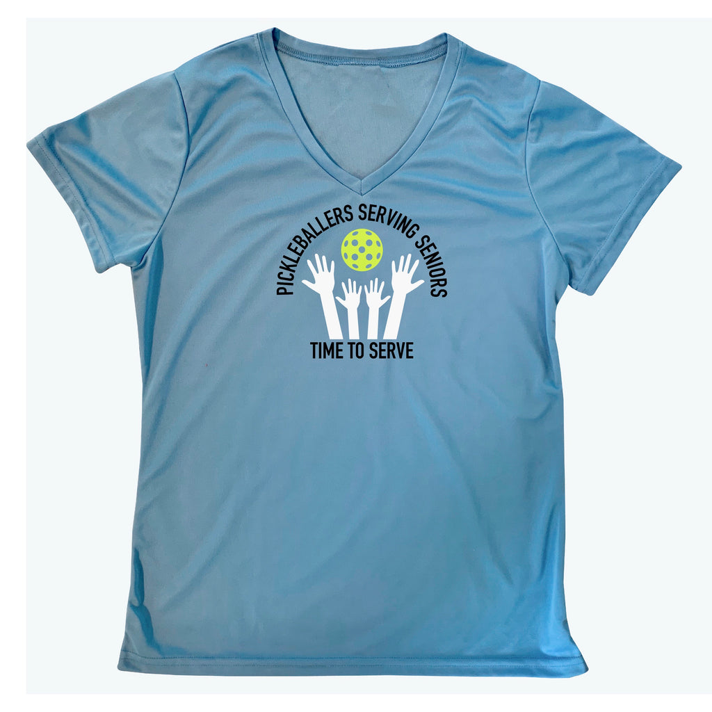 Ladies Pickleballers Serving Seniors Performance V-Neck T-Shirt