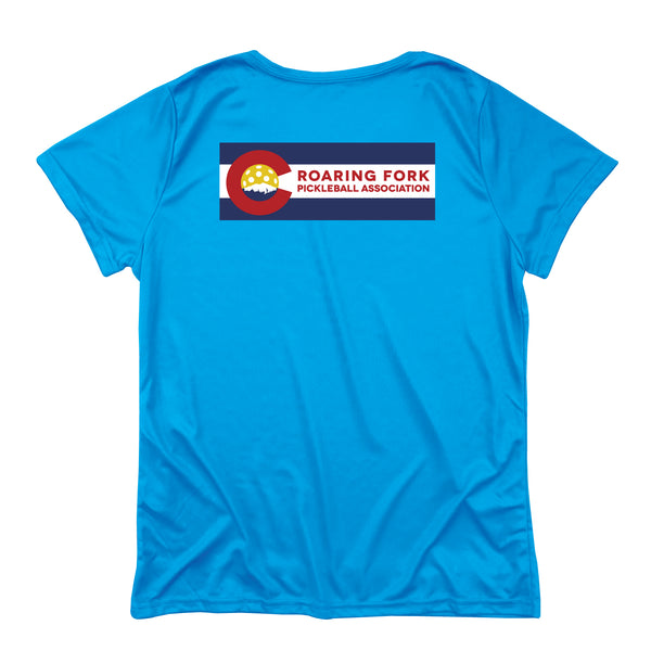 Roaring Fork, Colorado Pickleball Ladies Performance T-Shirt