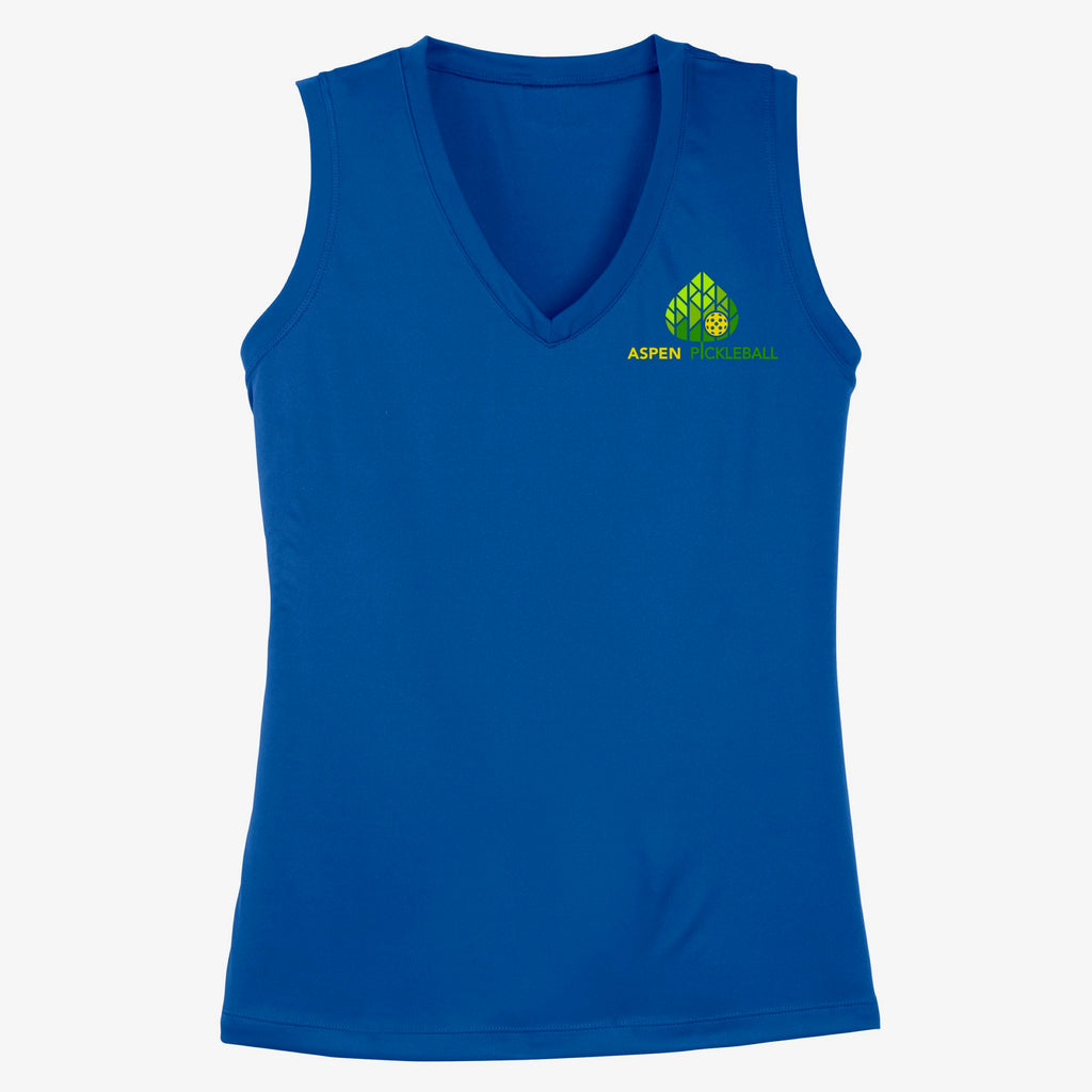 Aspen Pickleball Ladies Performance Sleeveless Tank - Front Chest Logo