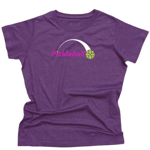 Ladies Pickleball Swoosh T-Shirt - Vintage Casual Cotton Blend