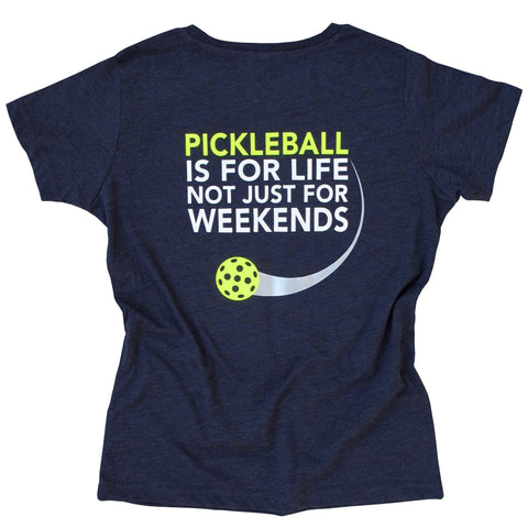 Pickleball is for Life not just for Weekends Women's T-Shirt - Vintage Casual Cotton Blend