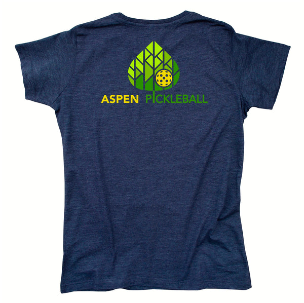 Aspen Pickleball Ladies Vintage Casual Cotton Blend T-Shirt - Back Logo