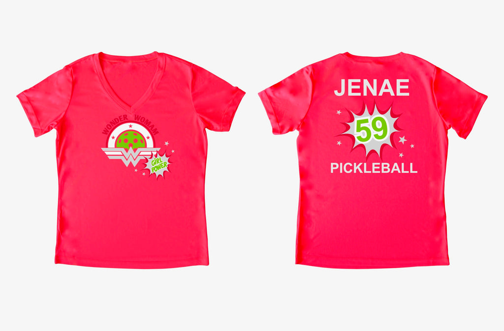 Custom Order for Jenae Wonder Woman Ladies Pickleball T-Shirt