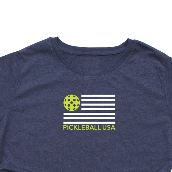 Ladies Pickleball USA Flag T-Shirt - Vintage Casual Cotton Blend