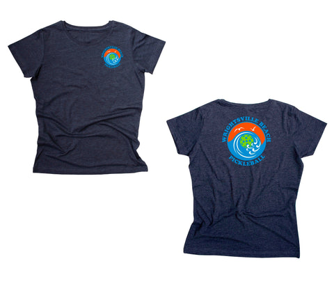 Wrightsville Beach Pickleball Ladies Vintage Casual Cotton Blend T-Shirt - Front Chest AND Back Logo