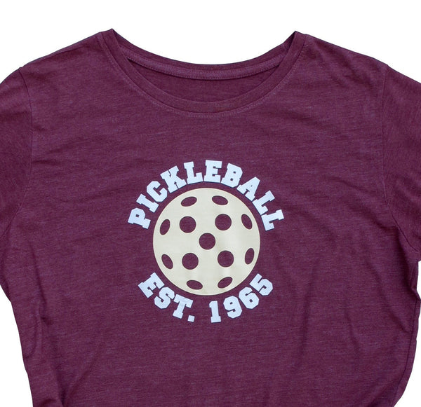 Retro Women's Pickleball T-Shirt - Pickleball Est. 1965 - Vintage Casual Cotton Blend