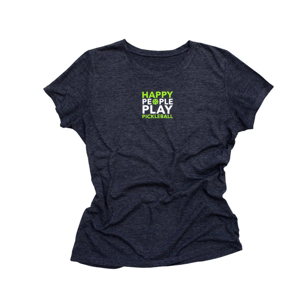 Happy People Play Pickleball Ladies T-Shirt - Vintage Casual Cotton Blend