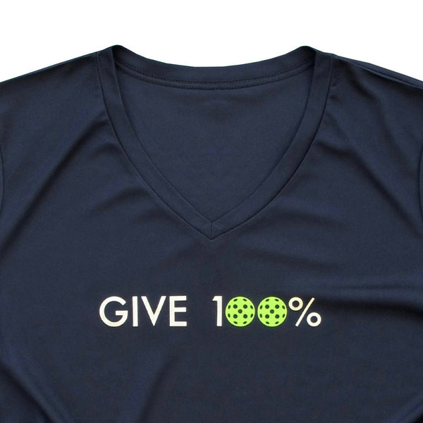 Give 100 percent Ladies Pickleball T-Shirt - Performance Dri Fit