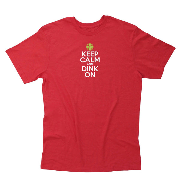 Keep Calm & Dink On Men's Pickleball T-Shirt - Vintage Casual Cotton Blend