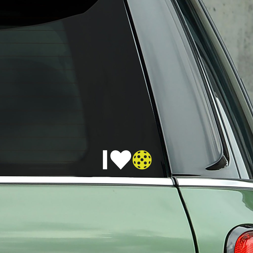 I Heart Pickleball Decal - Bumper Sticker