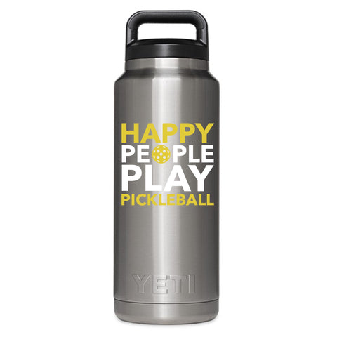 Happy People Play Pickleball Decal for your Yeti / Camelbak Water Bottle - Water Bottle Pickleball Decal