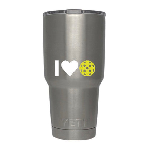 I Heart Pickleball Decal for your Yeti / Camelbak Water Bottle - Water Bottle Pickleball Decal