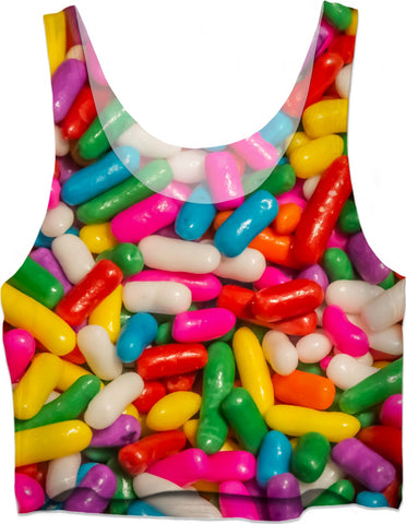 Realistic Candy Sprinkles Crop Top
